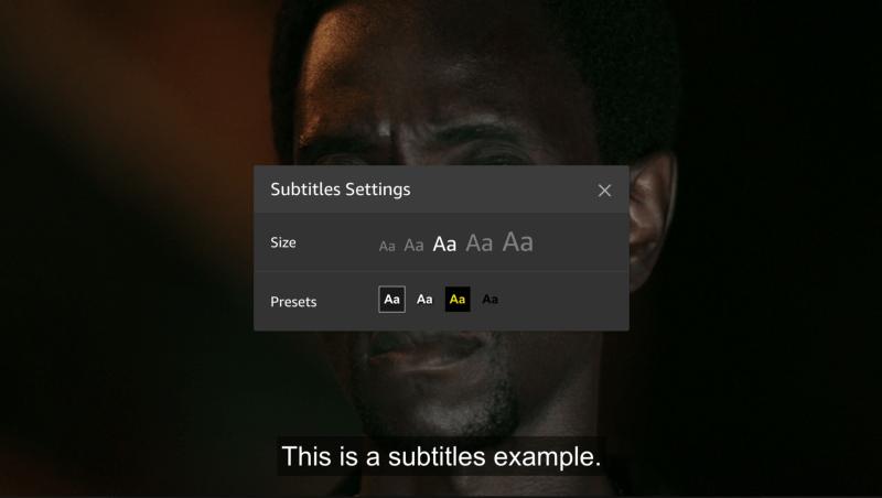 אפשרויות כתובית ב־Amazon Fire TV